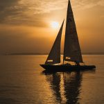sailing boat, sunset, summer